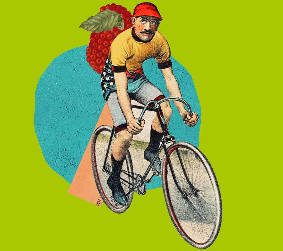 Pyörällä ajava mies.