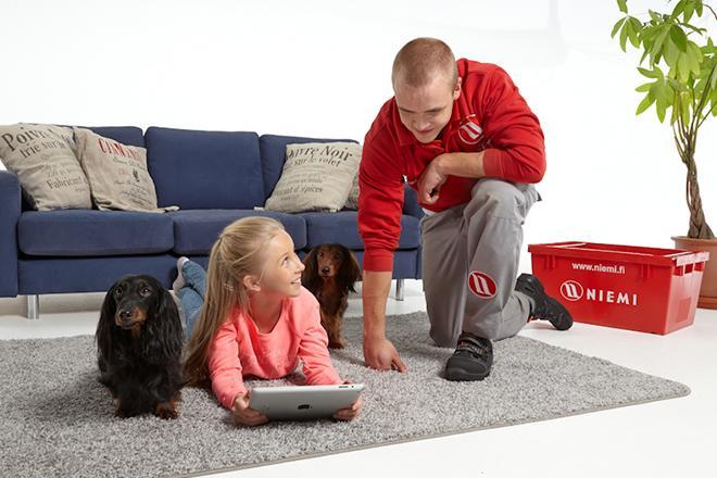 Mies, lapsi, kaksi koiraa ja taustalla muuttolaatikko.