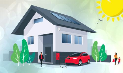 Aurinkopaneelit tuovat omakotitaloon aurinkoenergiaa.