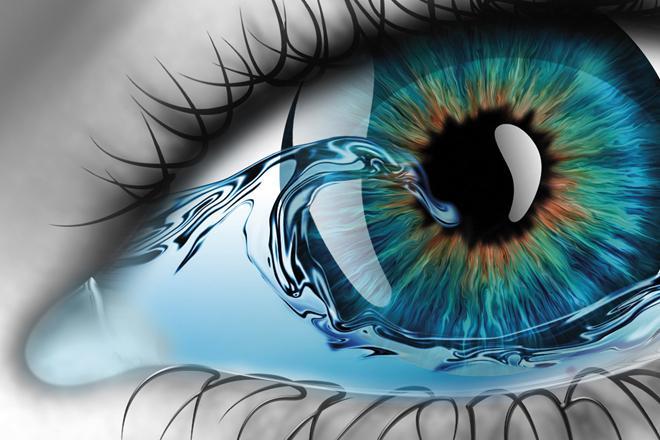Lähikuva silmästä, jossa lainehtii korkea aalto. Muokattu kuva.