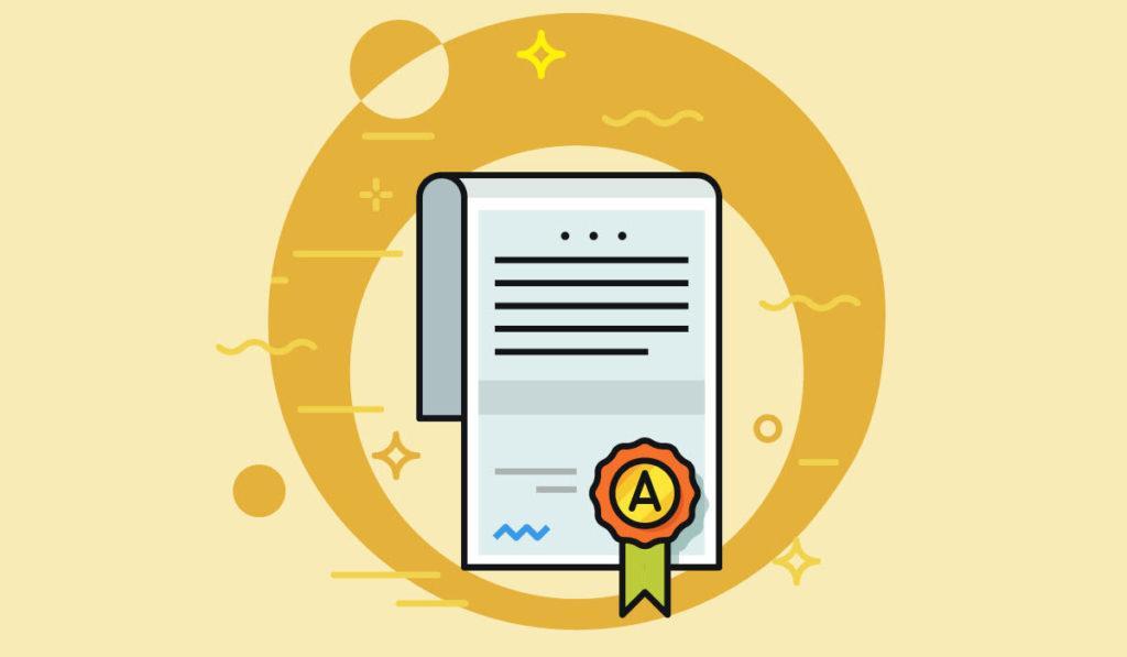 Kuvituskuva, sertifikaatti.