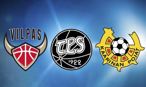 Vilpas Vikings, Turun Palloseura (TPS) ja Kaarinan Poikien logot.