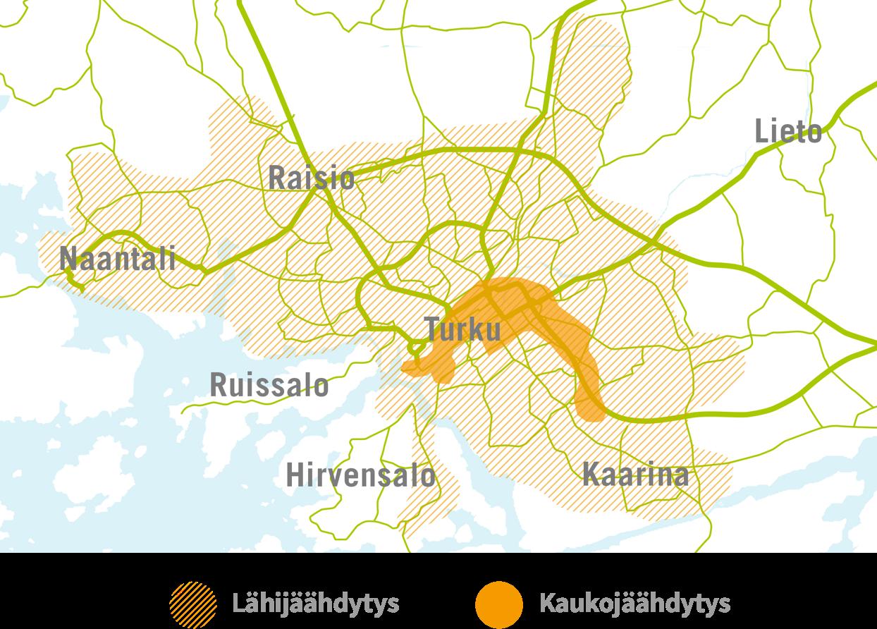 Kartta alueista, joilla jäähdytystä saatavilla.