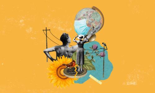 Karttapallo, sähkölinja, ihmisiä ja muita kuvaelementtejä kollaasikuvaksi koottuna.