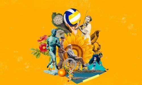 Urheilijoita, kukkia ja muita kuvaelementtejä kollaasikuvaksi koottuna.