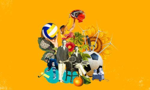 Erilaisia urheiluvälineitä, urheilijoita, kukkia ja muita kuvaelementtejä kollaasikuvaksi koottuna.
