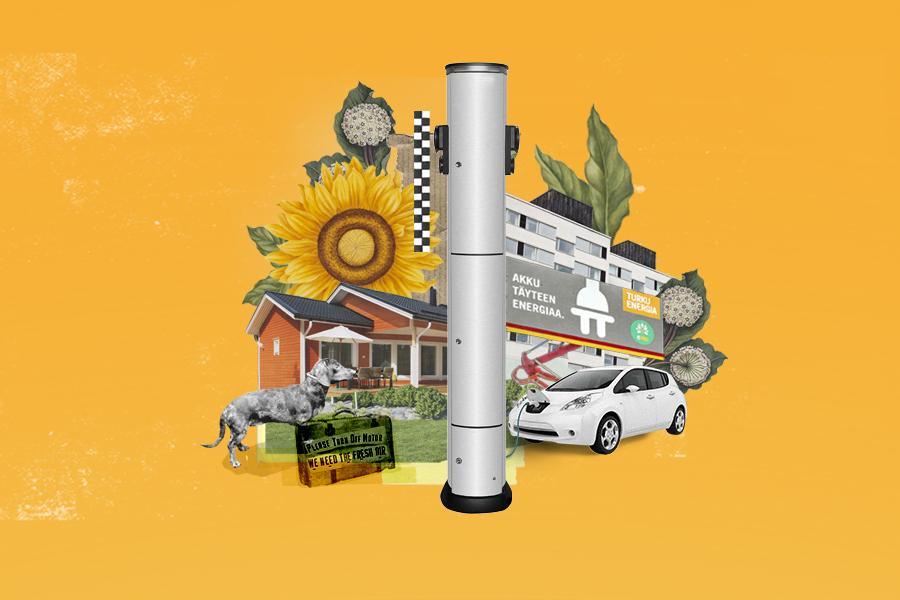 Sähköauto, latauspiste ja muita sekalaisia kuvia kollaasikuvaksi koottuna.
