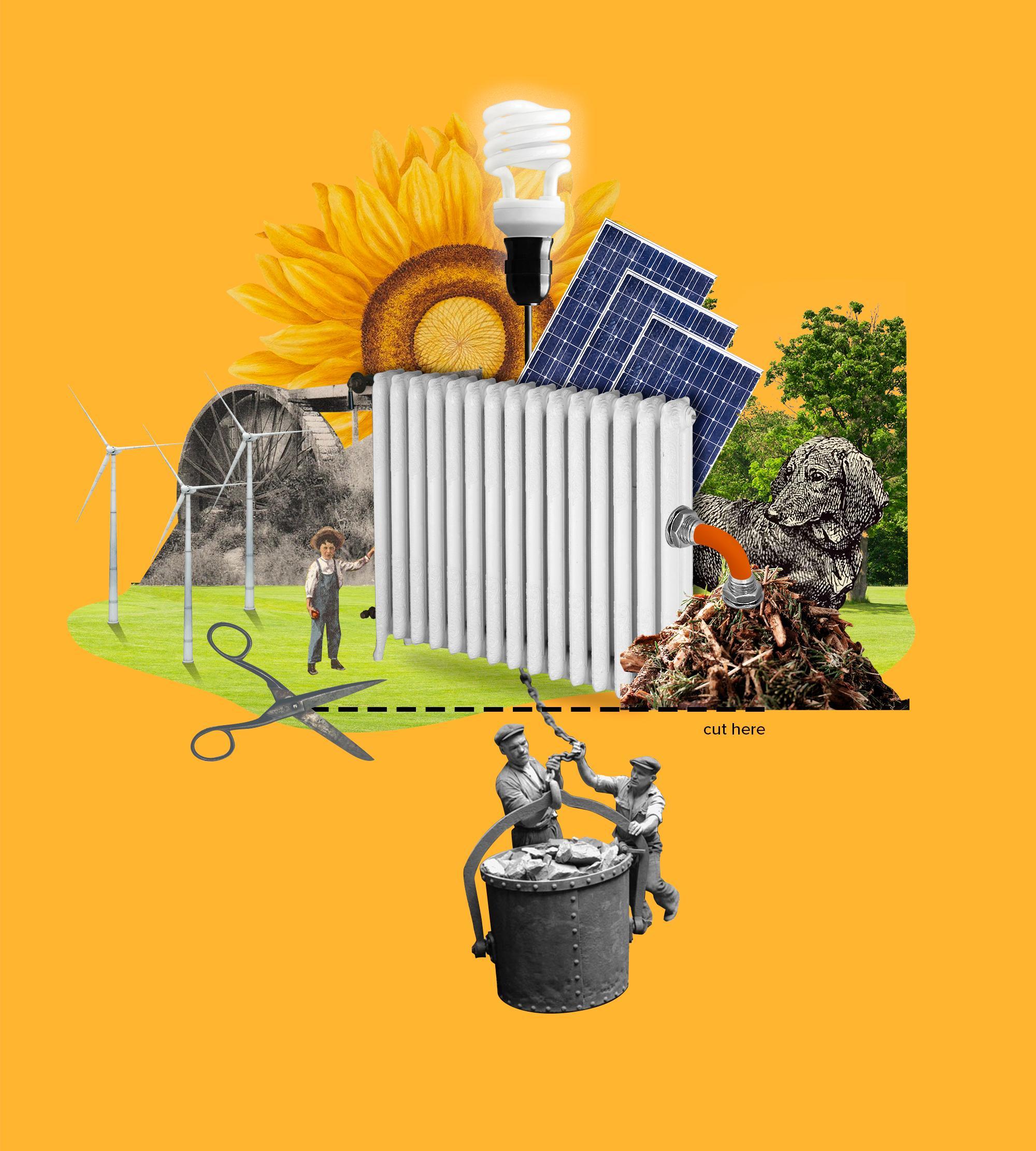 Aurinkopaneeleja, tuulimyllyjä, lämpöpatteri, hiilisanko ja muita kuvia kollaasikuvaksi koottuna.