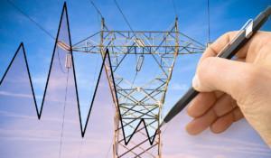 Sähkölinja ja markkinoiden kehitystä kuvastava käyrä.
