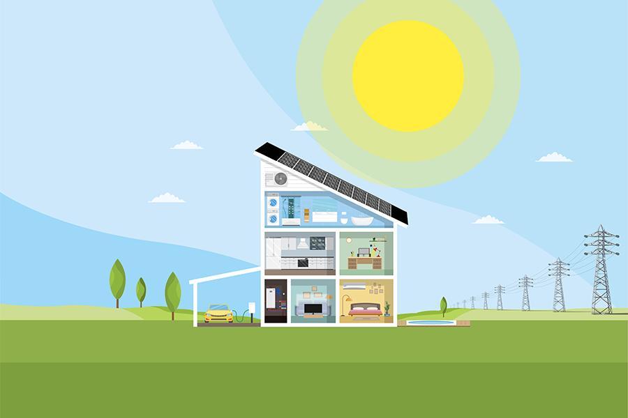 Läpileikkaus omakotitalosta, jonka katolla on aurinkopaneelit. Piirroskuva.
