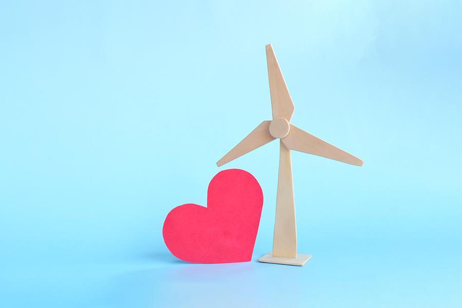 Tuulivoimala ja sydän.
