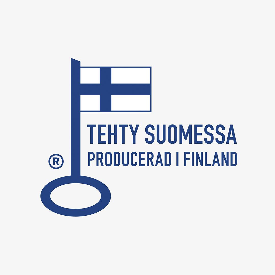 """Avainlippu ja teksti: """"Tehty Suomessa""""."""