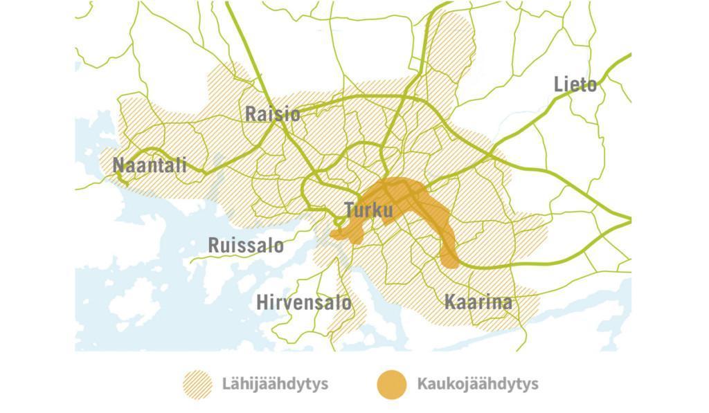 Kaukojäähdytysverkon kartta.